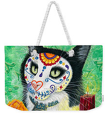 Weekender Tote Bag featuring the painting Day Of The Dead Cat Candles - Sugar Skull Cat by Carrie Hawks
