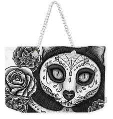 Weekender Tote Bag featuring the drawing Day Of The Dead Cat Skull - Sugar Skull Cat by Carrie Hawks