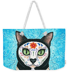 Weekender Tote Bag featuring the painting Day Of The Dead Cat - Sugar Skull Cat by Carrie Hawks