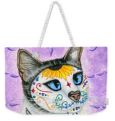 Day Of The Dead Cat Sunflowers - Sugar Skull Cat Weekender Tote Bag