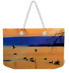 Daybreak On The Columbia River  Weekender Tote Bag by Nick Kloepping