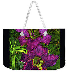 Weekender Tote Bag featuring the photograph Daylillys 2 by David Pantuso