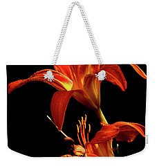 Weekender Tote Bag featuring the photograph Daylily Double by Douglas Stucky
