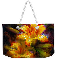 Weekender Tote Bag featuring the painting Daylily Sunshine - Colorful Tiger Lily/orange Day-lily Floral Still Life  by Karen Whitworth