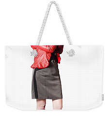 Weekender Tote Bag featuring the photograph Dead Female Secret Agent Holding Hand Gun by Jorgo Photography - Wall Art Gallery