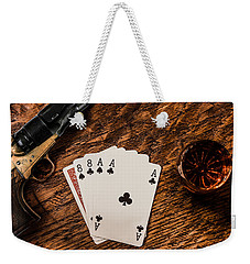 Dead Mans Hand A Gun And A Shot Of Whiskey Weekender Tote Bag by Semmick Photo