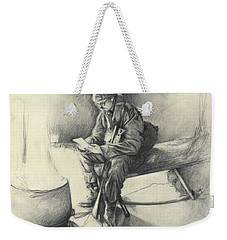Weekender Tote Bag featuring the drawing Letter From Home by Melinda Blackman