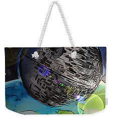 Weekender Tote Bag featuring the drawing Deathstar Illustration by Justin Moore