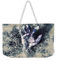 Decaying Zombie Hand Emerging From Ground Weekender Tote Bag by Jorgo Photography - Wall Art Gallery