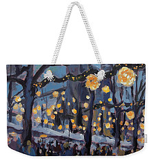 Weekender Tote Bag featuring the painting December Lights At The Our Lady Square Maastricht 1 by Nop Briex