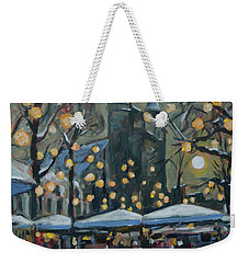 Weekender Tote Bag featuring the painting December Lights At The Our Lady Square Maastricht 2 by Nop Briex