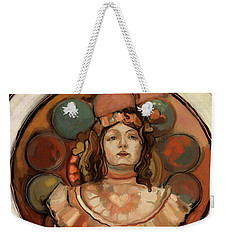 Weekender Tote Bag featuring the painting Deco Love by Carrie Joy Byrnes