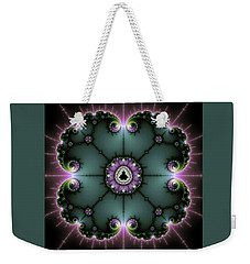 Weekender Tote Bag featuring the digital art Decorative Fractal Art Purple And Green by Matthias Hauser