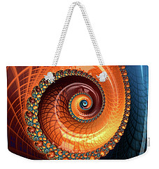 Weekender Tote Bag featuring the digital art Decorative Fractal Spiral Orange Coral Blue by Matthias Hauser