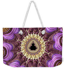 Weekender Tote Bag featuring the photograph Decorative Luxe Mandelbrot Fractal Purple Gold by Matthias Hauser