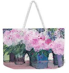 Decorative Pink Floral Still Life  Weekender Tote Bag