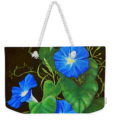 Deep Blue Morning Glory Weekender Tote Bag