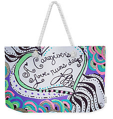 Weekender Tote Bag featuring the drawing Deep by Carole Brecht