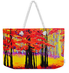 Weekender Tote Bag featuring the painting Deep Within - Enchanted Forest Collection - Modern Impressionist Landscape Art - Palette Knife by Patricia Awapara
