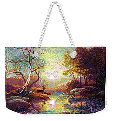 Weekender Tote Bag featuring the painting Deer And Dancing Shadows by Jane Small