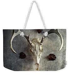 Deer Buck Skull With Fallen Leaves Weekender Tote Bag by Stephanie Frey