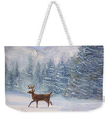 Deer In The Snow Weekender Tote Bag