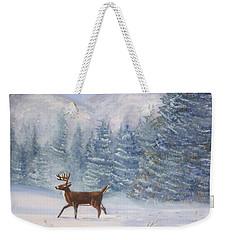 Deer In The Snow Weekender Tote Bag