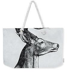 Weekender Tote Bag featuring the drawing Deer by Michael  TMAD Finney