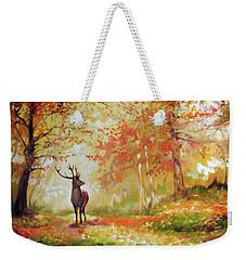 Deer On The Wooden Path Weekender Tote Bag