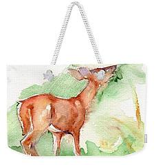 Deer Painting In Watercolor Weekender Tote Bag by Maria's Watercolor