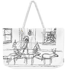 Weekender Tote Bag featuring the painting Deer Santa by Artists With Autism Inc