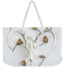 Deer Skull With Antlers And Roses Weekender Tote Bag