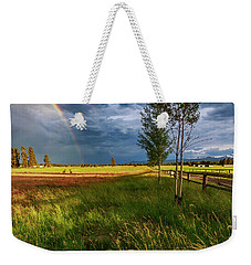 Weekender Tote Bag featuring the photograph Deer Under The Rainbow by Cat Connor
