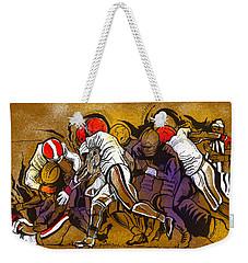 Weekender Tote Bag featuring the painting Defense by John Jr Gholson