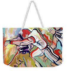 Weekender Tote Bag featuring the painting Defense Surge by John Jr Gholson