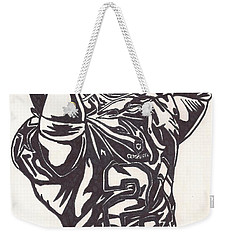 Weekender Tote Bag featuring the drawing Deion Sanders by Jeremiah Colley