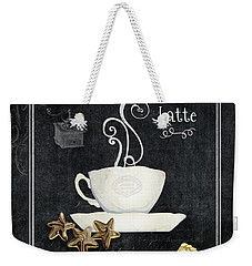 Weekender Tote Bag featuring the painting Deja Brew Chalkboard Coffee 2 Caffe Latte Shortbread Chocolate Cookies by Audrey Jeanne Roberts