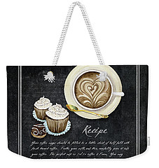 Weekender Tote Bag featuring the painting Deja Brew Chalkboard Coffee 3 Cappuccino Cupcakes Chocolate Recipe  by Audrey Jeanne Roberts