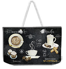 Weekender Tote Bag featuring the painting Deja Brew Chalkboard Coffee Cappuccino Mocha Caffe Latte by Audrey Jeanne Roberts