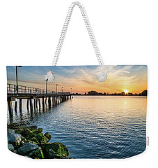 Del Norte Pier And Spring Sunset Weekender Tote Bag by Greg Nyquist