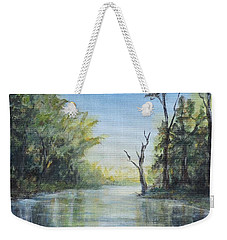 Weekender Tote Bag featuring the painting Delaware River  by Katalin Luczay