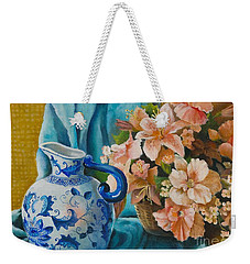 Delft Pitcher With Flowers Weekender Tote Bag by Marlene Book