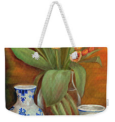 Delft Vase And Mini Tulips Weekender Tote Bag by Marlene Book