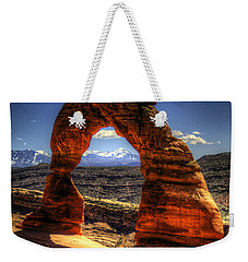 Delicate Arch Framing La Sal Mountains Weekender Tote Bag