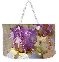 Delicate Gold And Lavender Iris Weekender Tote Bag by Phyllis Denton