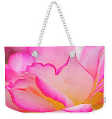 Delicate Pink And White Rose Weekender Tote Bag by Teri Virbickis