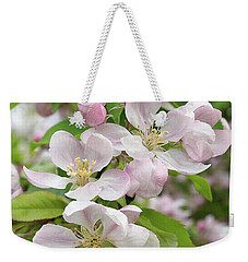 Delicate Soft Pink Apple Blossom Weekender Tote Bag by Gill Billington