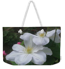 Weekender Tote Bag featuring the painting Delicate White Clematis Pair by Smilin Eyes  Treasures