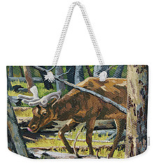 Weekender Tote Bag featuring the painting Delicious Greens, Yellowstone by Erin Fickert-Rowland