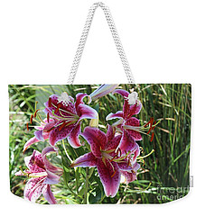 Weekender Tote Bag featuring the photograph Delightful  Stargazer by Yumi Johnson